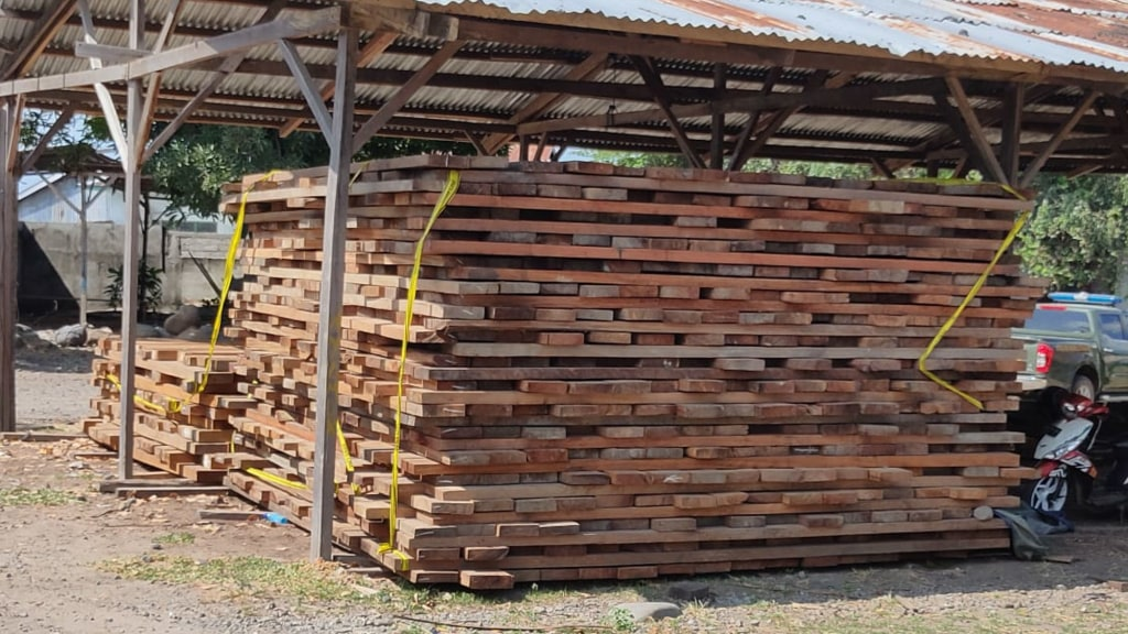 175m3 of illegal Merbau and Meranti lumber seized in Maumere