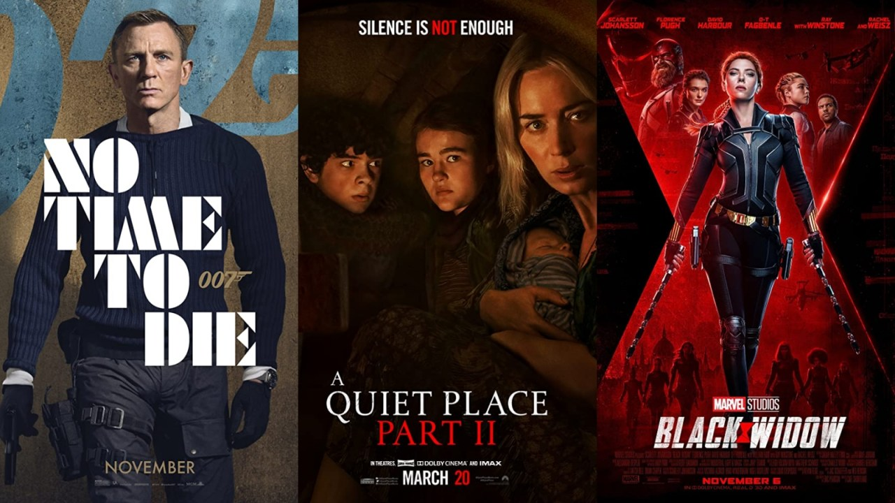 Poster film A Quiet Place, Black Widow, dan No Time to Die