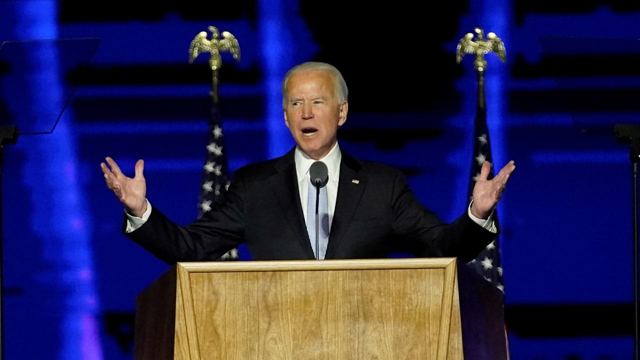 Joe Biden menyampaikan Pidato Kemenangan