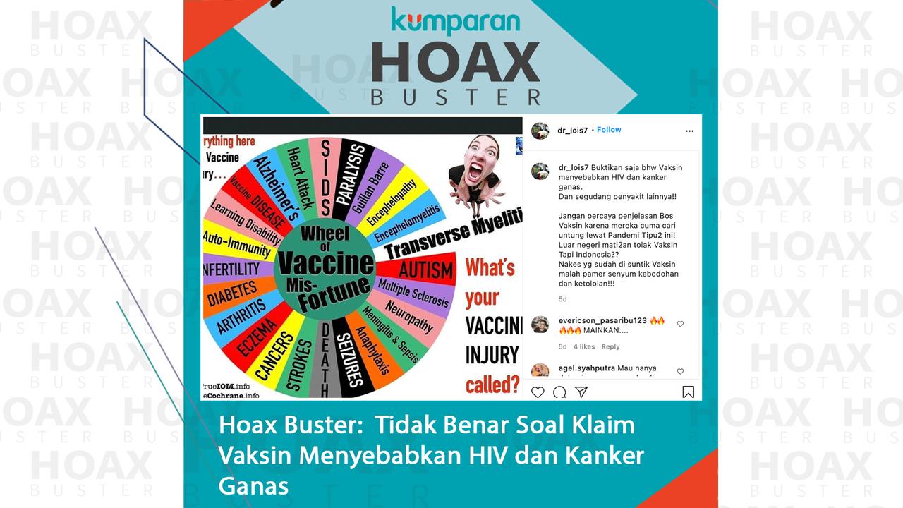 hoaxbuster- klaim vaksin menyebabkan HIV dan kanker ganas