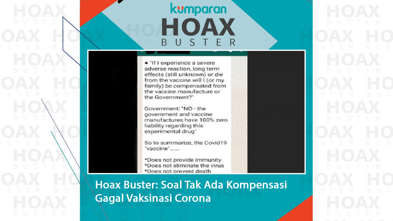 Hoaxbuster- Soal Tak Ada Kompensasi Gagal Vaksinasi Corona