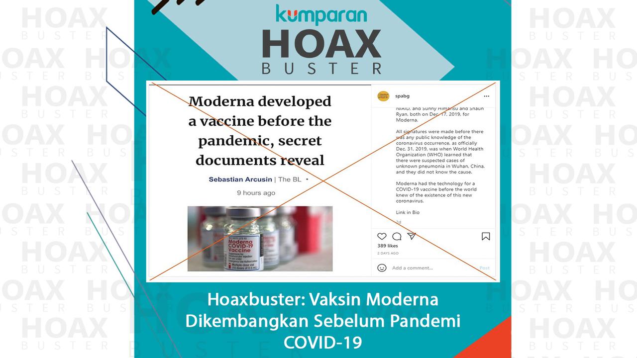 Hoaks Vaksin Moderna dikembangkan sebelum pandemi COVID-19