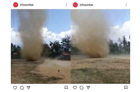 Bikin Geger, Ada Angin Puting Beliung di Depan SMAN 13 Padang