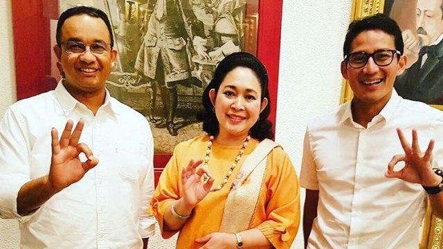 Titiek Soeharto bersama Anies dan Sandi