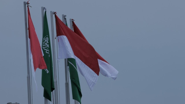Bendera Indonesia dan Arab Saudi