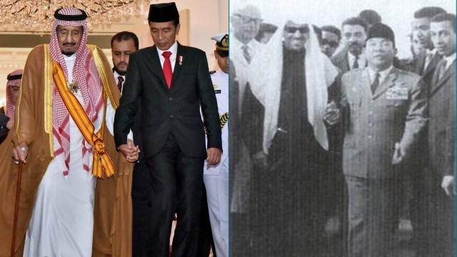 Jokowi dan Sukarno bergandengan dengan Raja Arab