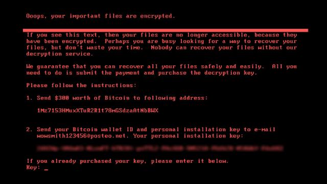 Notifikasi infeksi ransomware Petya