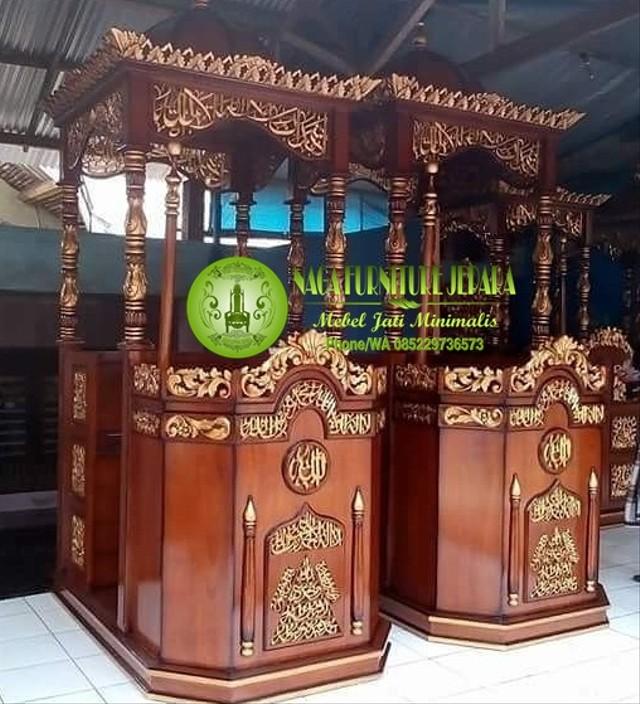 Mimbar Podium Masjid Minimalis Kayu Jati Sederhana Lengkap Harga Model Ukuran (10895)
