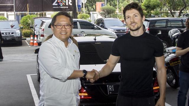 Menkominfo Rudiantara dan CEO Telegram Pavel Durov
