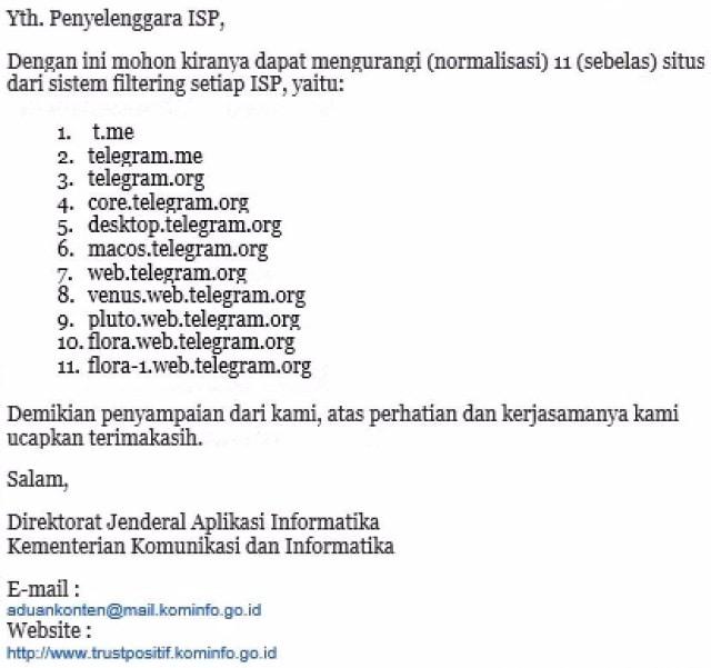 Surat perintah normalisasi Telegram