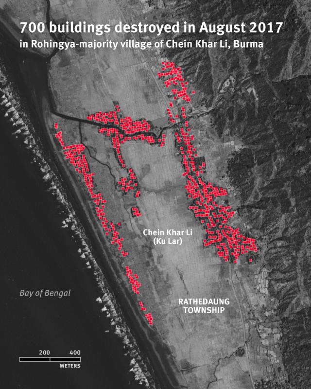 Peta Satelit Pembakaran Rumah Penduduk Rohingya
