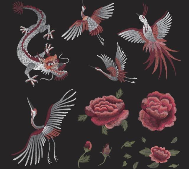 Motif naga dan burung, China