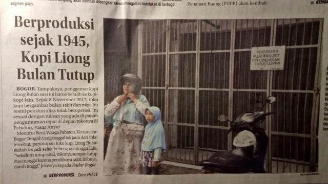 Berita Kopi Liong Bulan tutup di Radar Bogor
