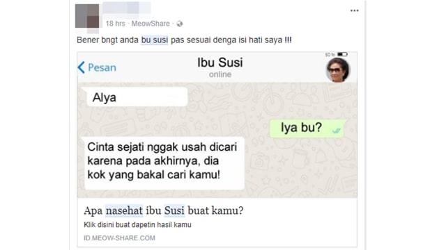 Ramai Kuis 'Nasihat Ibu Susi' di Facebook, Waspada Data Dimanfaatkan (104055)