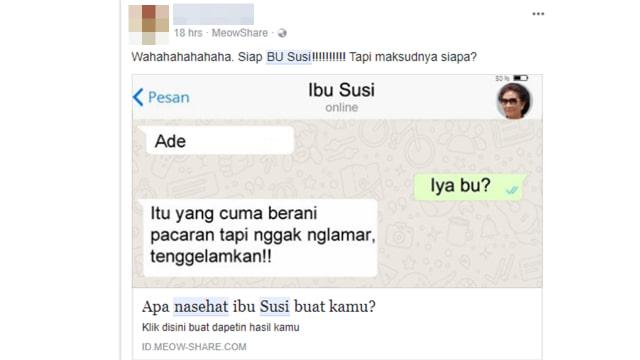 Kuis 'Nasihat Ibu Susi' di Facebook