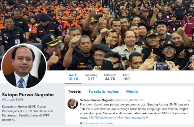 Twitter Sutopo Purwo Nugroho.