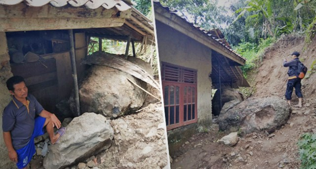 Dua Bongkahan Batu Besar Hancurkan Satu Rumah Warga