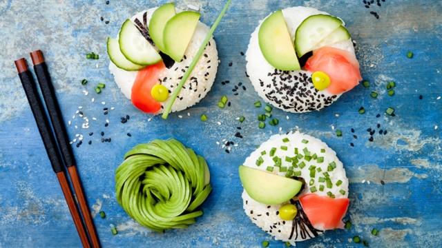 Ilustrasi vegan sushi