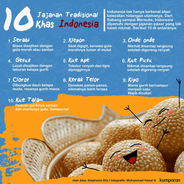 Infografik 10 Jajanan Tradisional Khas Indonesia Mana Favorit