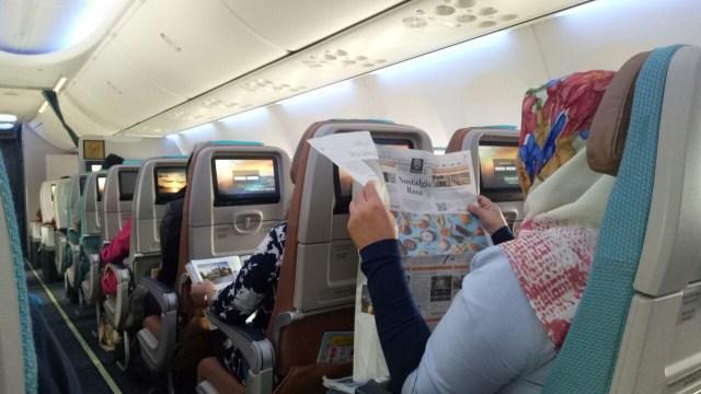 Suasana di dalam pesawat Garuda Boeing 737 Max 8