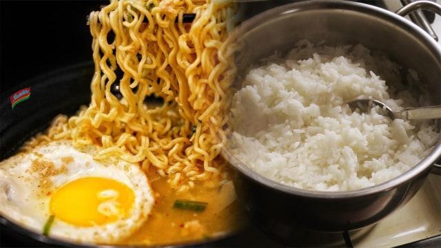 Mi instan vs nasi putih