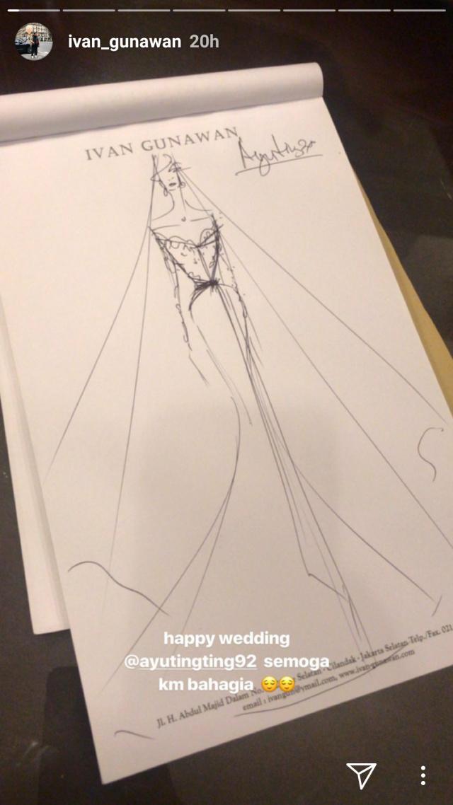 Sketsa gaun pernikahan Ayu Ting Ting