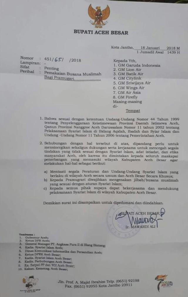 Pemerintah Aceh Besar Wajibkan Pramugari Pakai Jilbab (351878)