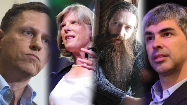 P Thiel, Cynthia Kenyon, Aubrey De G, Larry Page