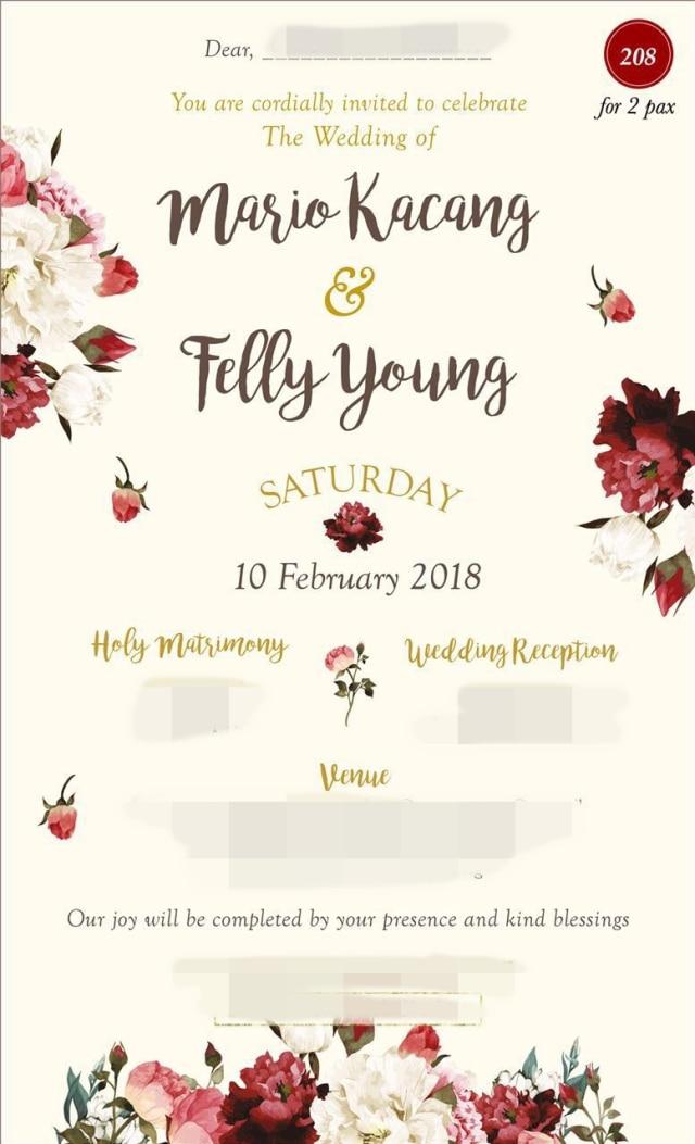 Undangan pernikahan Felly Yong eks Cherrybelle