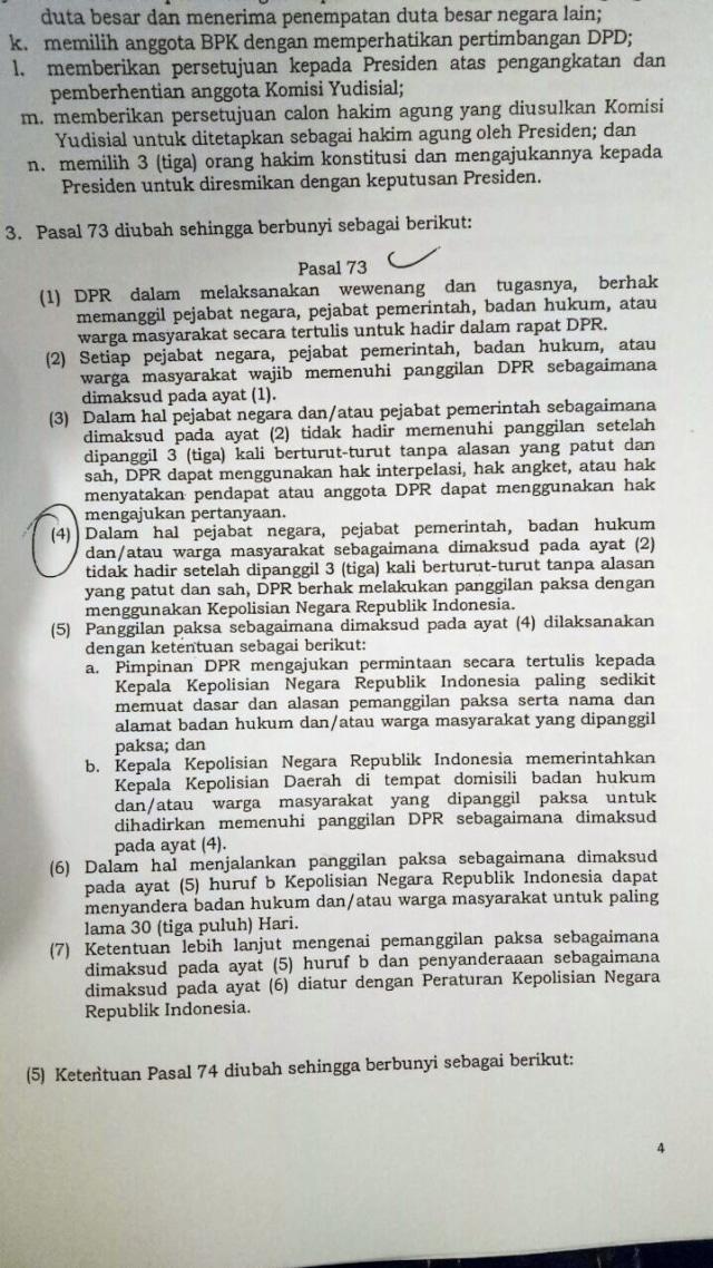 Draf revisi UU MD3 soal jemput paksa