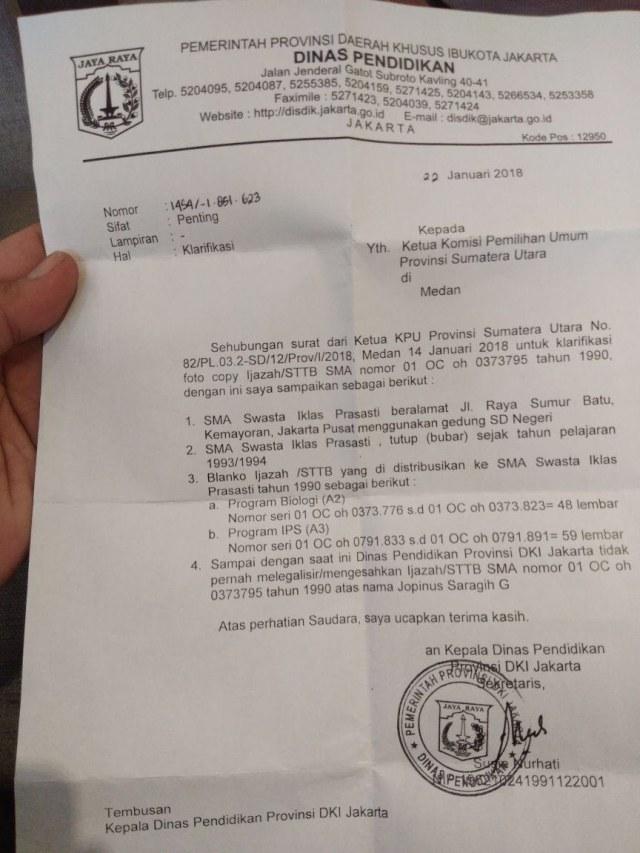 Disdik DKI Sebut Tak Pernah Legalisir Ijazah JR Saragih (13337)