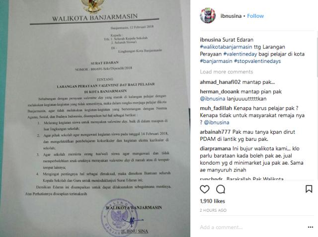 Walikota Banjarmasin Melarang Perayaan Hari Valentine