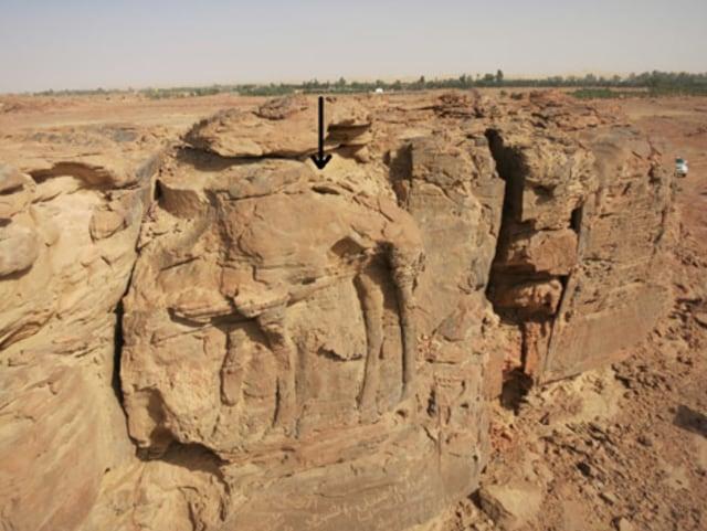 Batuan dengan ukiran unta..