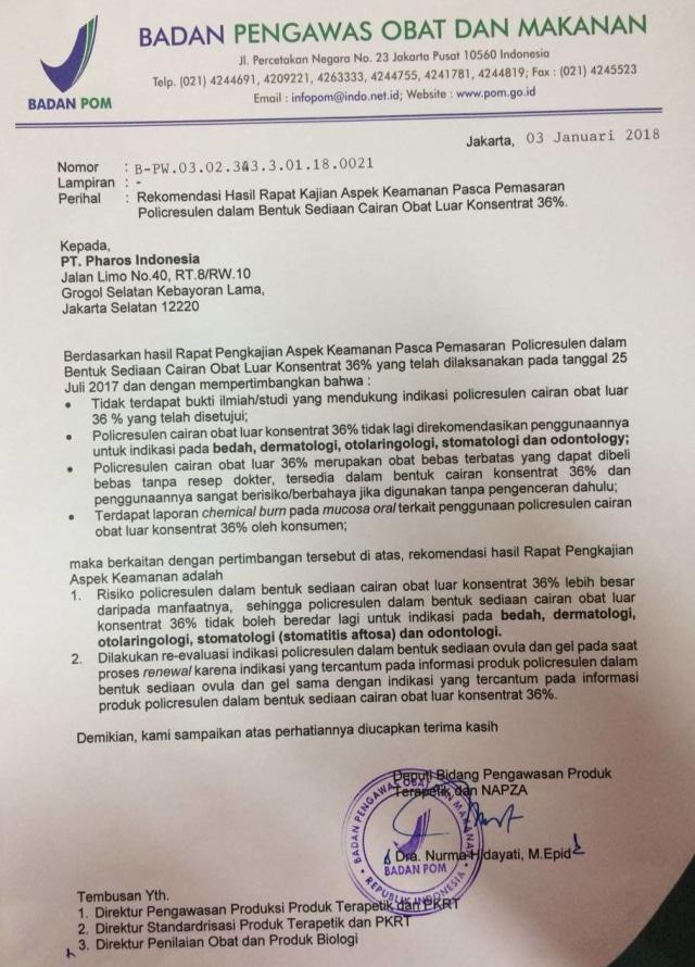 Surat BPOM soal Albothyl