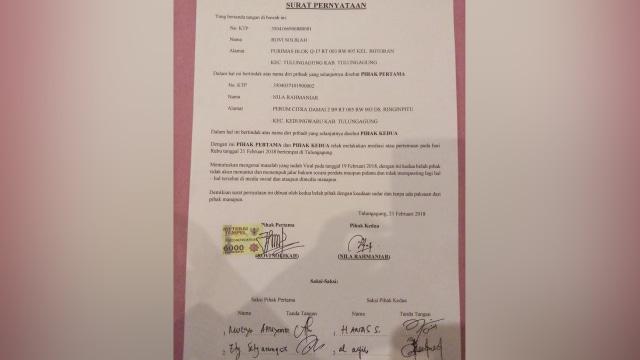 Surat perdamaian Nyla dan Bu Dendy