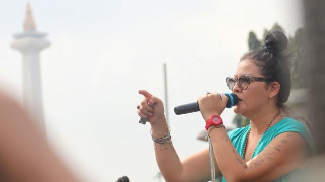 Melanie Subono di Women's March 2018 Jakarta