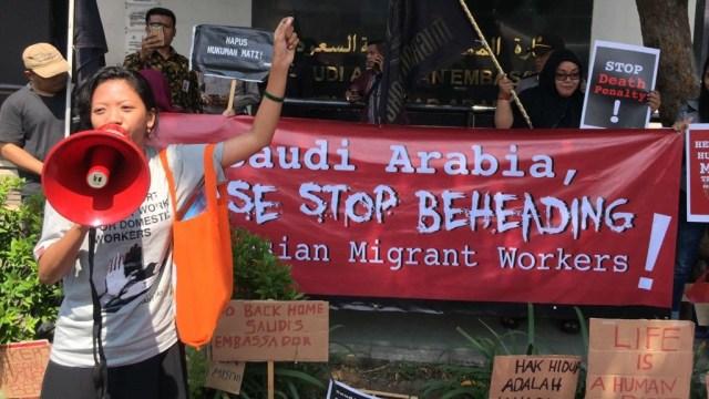 Demonstrasi di depan Kedubes Arab Saudi
