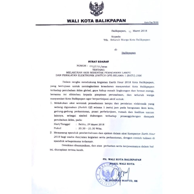 Surat Edaran Switch Off Balikpapan 2018 Kumparancom
