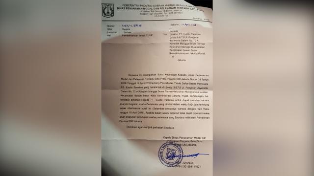 SK Penutupan Diskotek Eksotik dari DPMPTSP