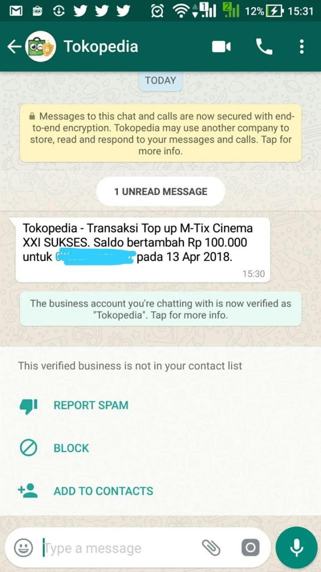Tokopedia Mulai Pakai WhatsApp Business untuk Notifikasi Transaksi (3546)