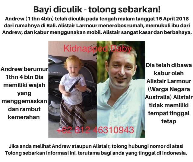 Poster pencarian Andrew dan Alistair