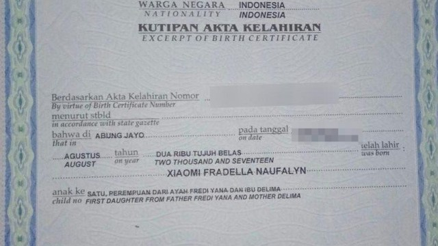 Akta Kelahiran Xiaomi Fradella Naufalyn