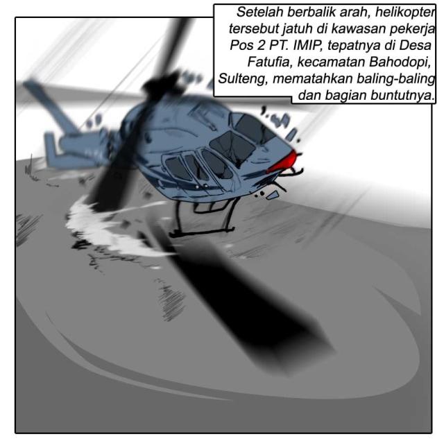 Komik: Helikopter PK-WSX Jatuh dan Menewaskan Seorang Pekerja di Morowali, Sulawesi Tengah (27301)