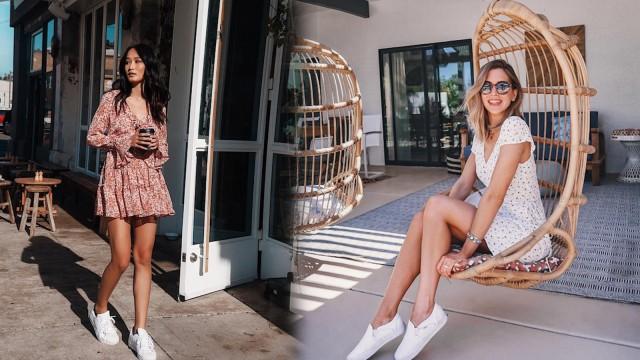 (7) Inspirasi Gaya Dress & Sneakers