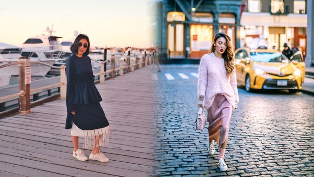 (4) Inspirasi Gaya Dress & Sneakers