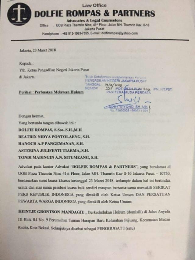 Gugatan Pmh Dewan Pers Segera Disidangkan Kumparancom