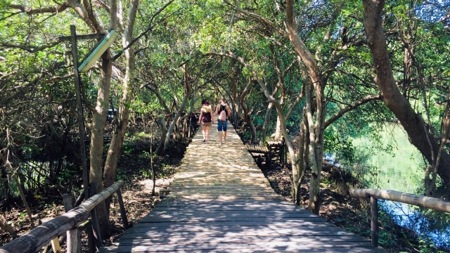 Turis di Taman Wisata Alam Angke Kapuk