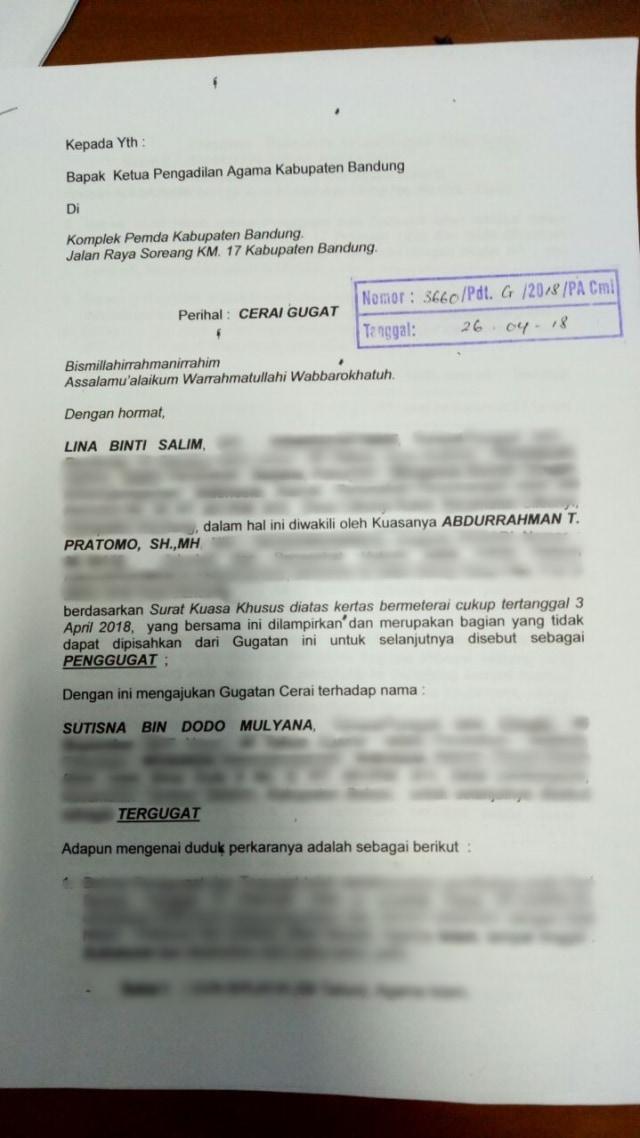 Surat Gugat Cerai Sule.