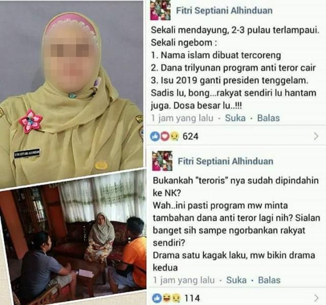 Guru yang sebar bom Surabaya rekayasa ditahan