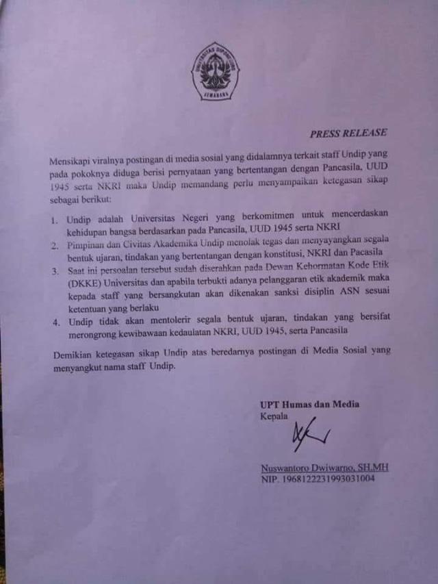 Pernyataan Undip terkait Prof Suteki